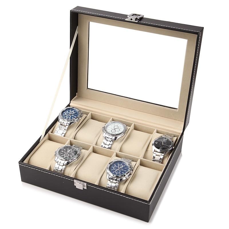 Estándar 2/3/6/10/12 Ranuras Cajas de exhibición de reloj de cuero Soporte de organizador de caja de almacenamiento de reloj Caja de joyería de almacenamiento de reloj negro