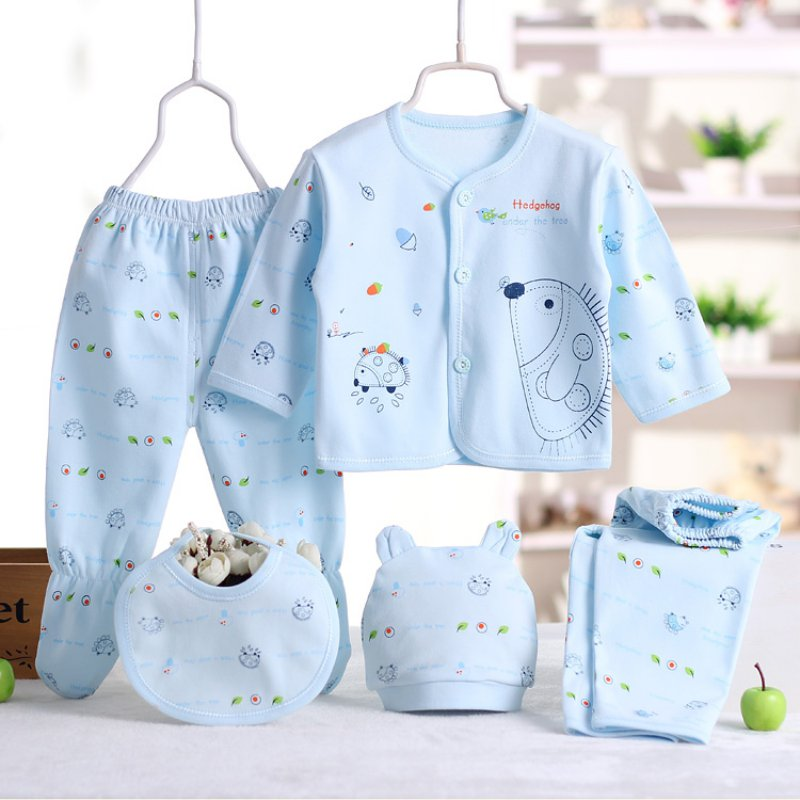Infant Clothing Baby Cotton Clothes Set Newborn Boys Girls Soft Underwear Cartoon Shirt and Pants Clothing 0-3 Months