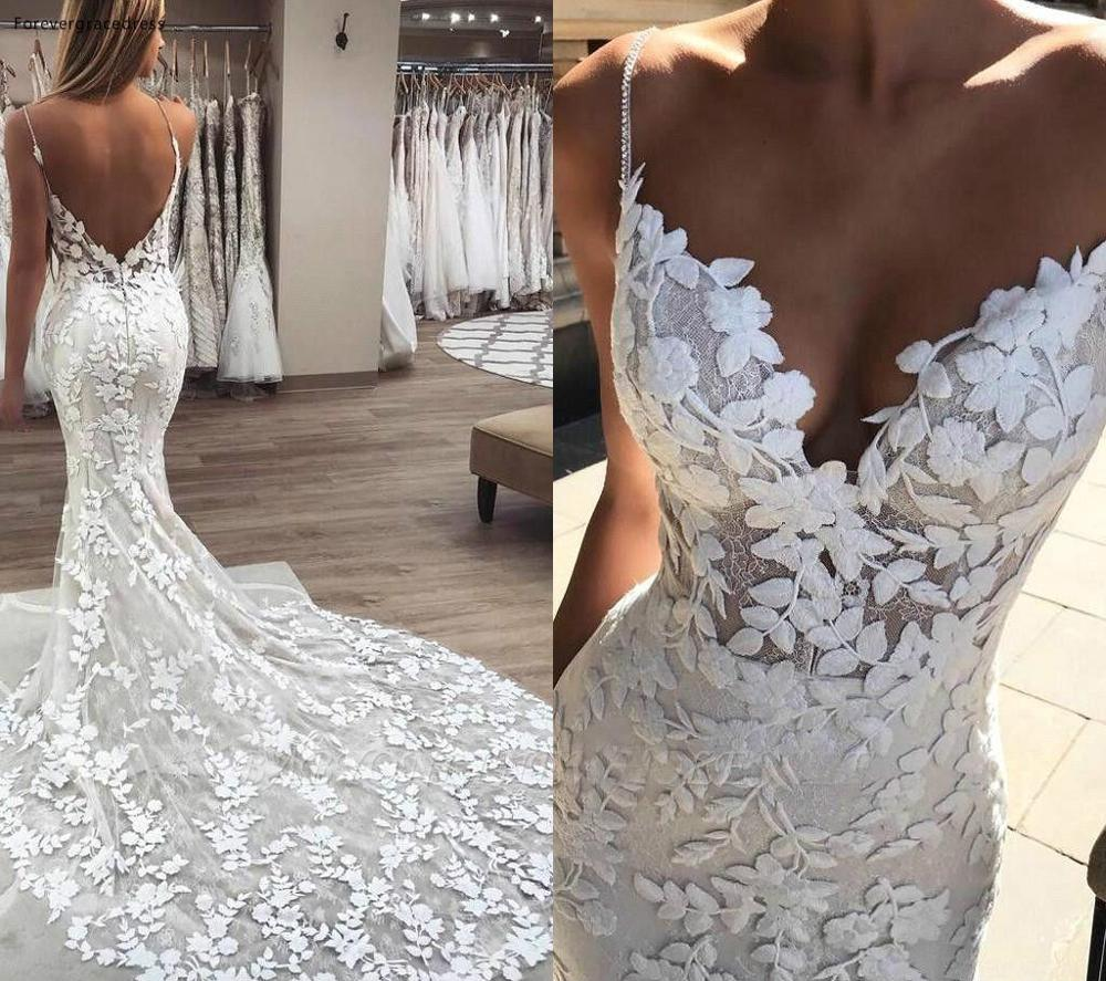 Elegant Lace Wedding Dresses 2019 Mermaid Spaghetti Straps Backless Garden Country Bride Bridal Gowns Custom Made Plus Size