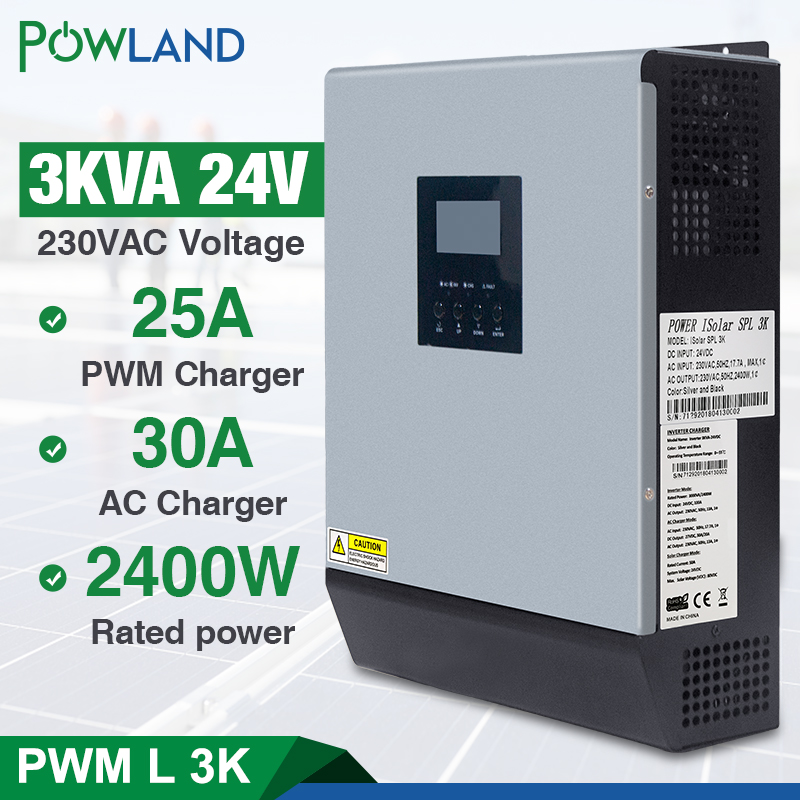 3kva Solar Inverter 24V 220V Hybrid Inverter Pure Sine Wave Built in 50A PWM Solar Charge Controller Battery Charger inversorSolar Inverters   -