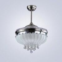 CJZ потолочный вентилятор лампа роза 42 дюймов 108 см светодио дный светодиодные Хрустальные потолочные светильники 85 265 в серебристый затемне