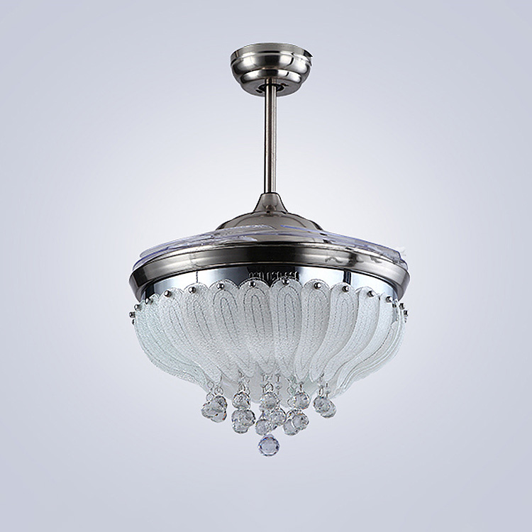 CJZ Ceiling fan lamp Rose 42 inch 108cm LED crystal ceiling LIGHTS 85 265V Silvery Dimming remote control ceiling fan lamp