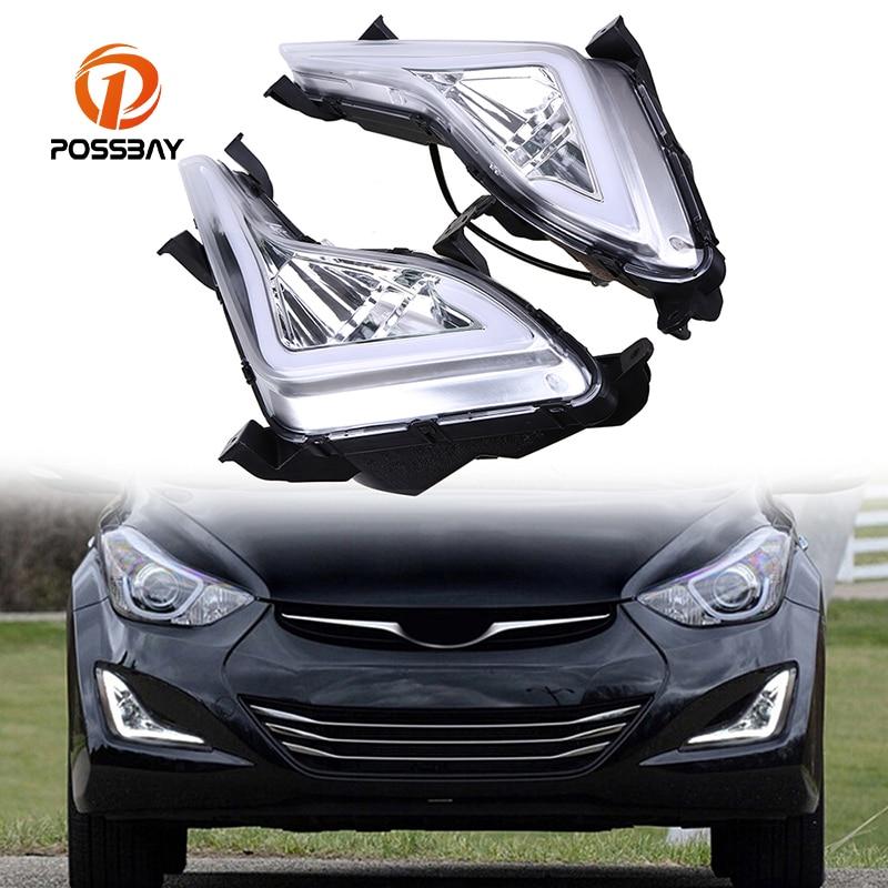 POSSBAY LED Daytime Running Lights DRL Fog Lamp Cover Case For Hyundai Elantra Sedan (MD) 2014/2015/2016 White Yellow Bulbs