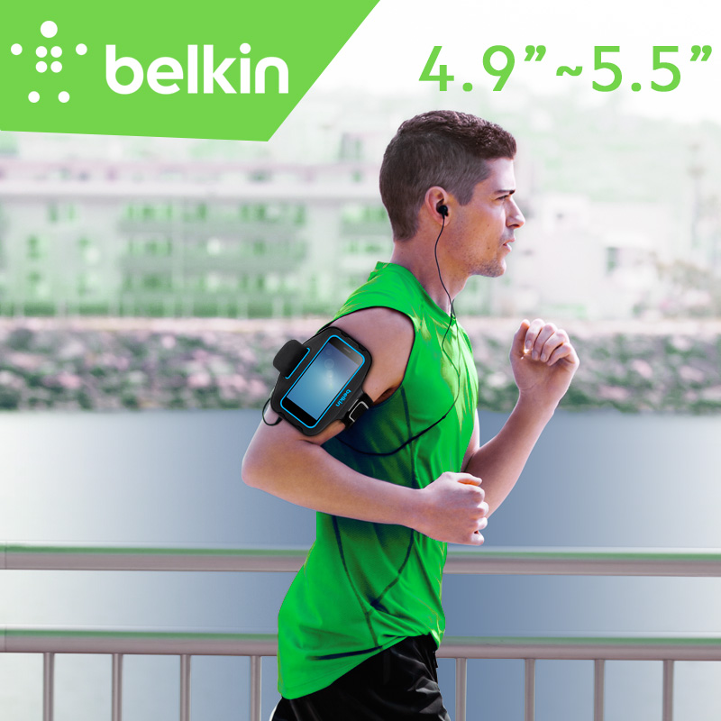 """Belkin Original Universal Sport Arm Band Case for 4.9""""-5.5"""" Smartphone(Hand-washable) for iPhone 7 Plus with Retail Package"""