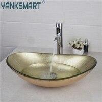 YANKSMART Yellow Oval Glass Washroom Basin Vessel Vanity Sink Bathroom Mixer Basin Washbasin Brass Chrome Faucet