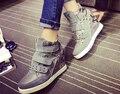 Remaches zapatos de las mujeres zapatos de plataforma de cuero genuino tamaño grande 40 casual chaussure femme mujer alta-top zapatos de punta redonda