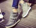 rivets shoes women genuine leather platform shoes big size 40 casual female high-top shoes round toe chaussure femme
