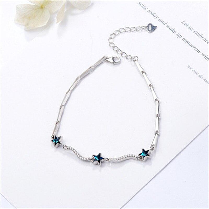 100% fait à la main en argent Sterling 925 homard fermoir bule star bracelets bracelets pour les femmes bricolage bijoux en argent Original