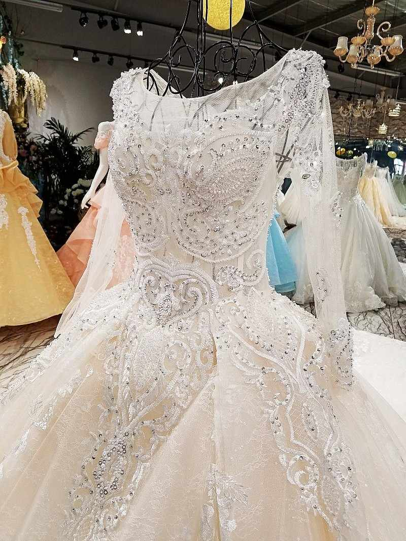 LS00349-1 wedding dress o-neck full sleeves lace up backless flowers beading cathedral train ball gown floral print real photos