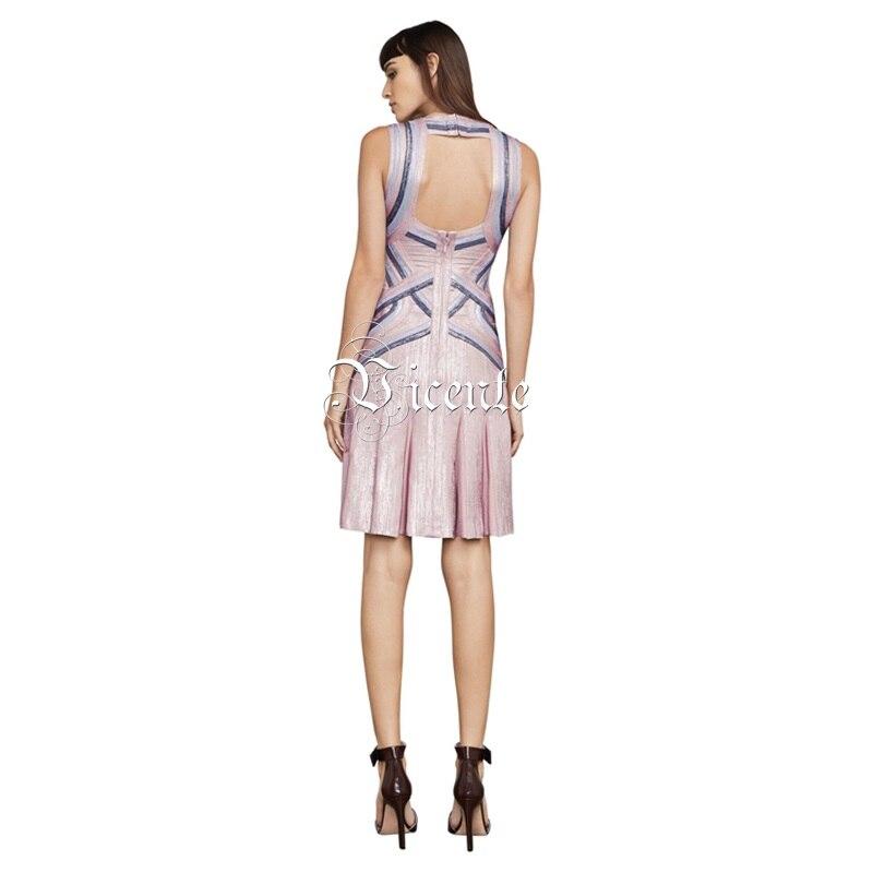 En D'huile Mini Robe Ruches Multi Couleur Nouveau Sexy Chaude Bloc Impression Nu Bandage Dos Élégant 2019 Chic Vicente Gros Celebrity 7xOagw