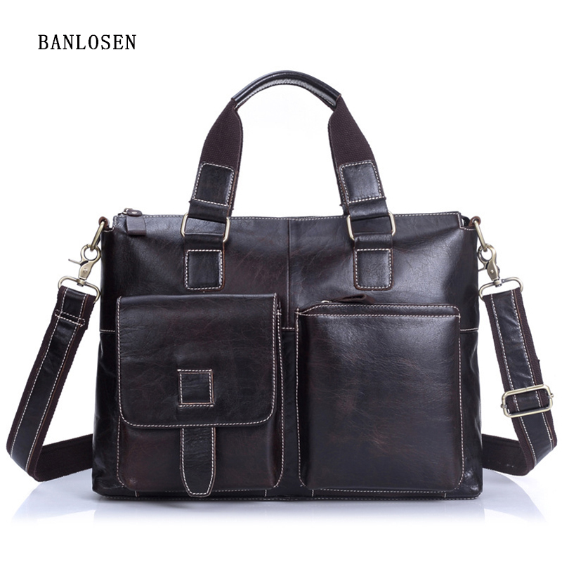 Men's Genuine Leather Handbag Tote High End Business Briefcase Messenger Laptop Case Vintage Crossbody Bag Brown Shoulder Bags vktery handbag men satchel pu leather male messenger crossbody bag business solid brown tote briefcase sling shoulder bags 3021