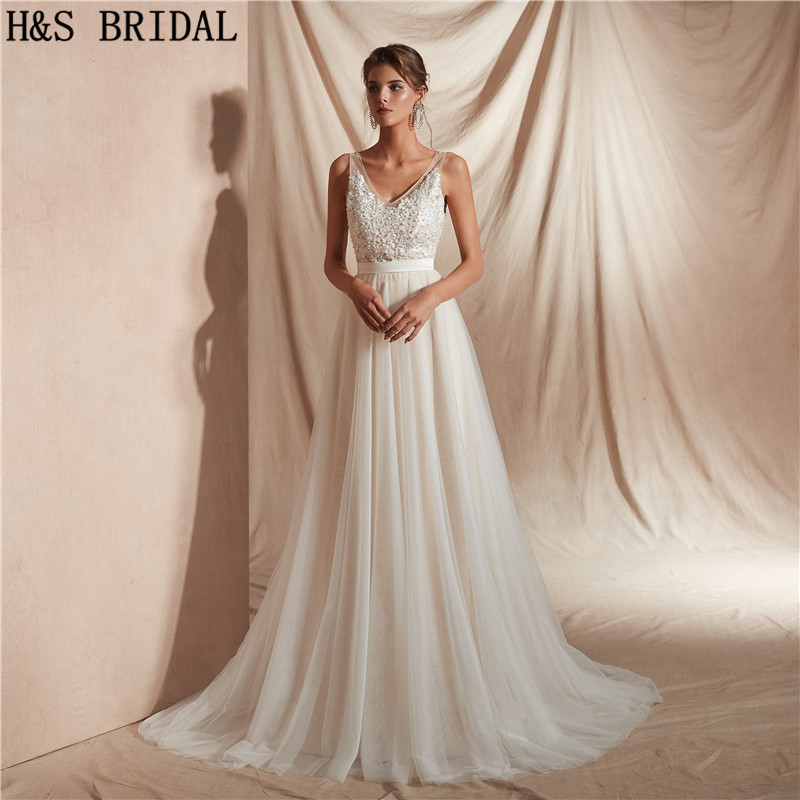 H&S BRIDAL Beach Wedding Dresses A Line Simple Bride Wedding Gowns Vestidos De Novia Wedding Guest Dresses