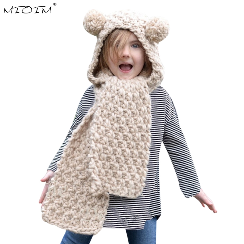 MIOIM New 2017 Winter Warm Hat Scarf Baby Double Pompom Balls Ear Hat Baby Girls Boys Thick Knitted Beanies Scarves Sets Kids 3 2016 winter new soft bottom solid color baby shoes for little boys and girls plus velvet warm baby toddler shoes free shipping