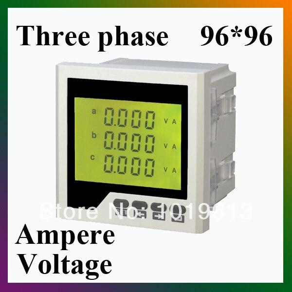 Три фазы ЖК-цифровая панель амперметр вольтметр амперметр сочетание стол
