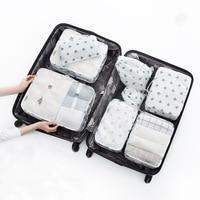 8Pcs Set Flamingo Cactus Partten Travel Portable Tidy Suitcase Organizer Clothes Packing Container Makeup Shoes Storage