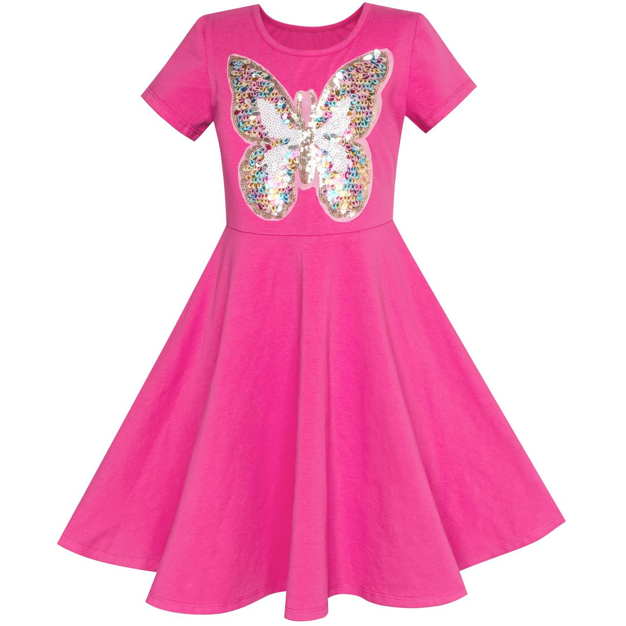 Sunny Fashion Girls Dress Deep Pink Butterfly Sequin Cotton Dress 2018 Summer Princess Wedding Party Dresses Clothes Size 5-12 sunny fashion girls dress long sleeve crown ribbon birthday princess pink dress 2017 summer wedding party dresses size 4 8