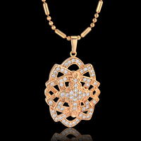 Vintage Ice Out Cubic Zirconia Square Cross Pendant Necklace For Women Christian Jewelry Gold Color Bead