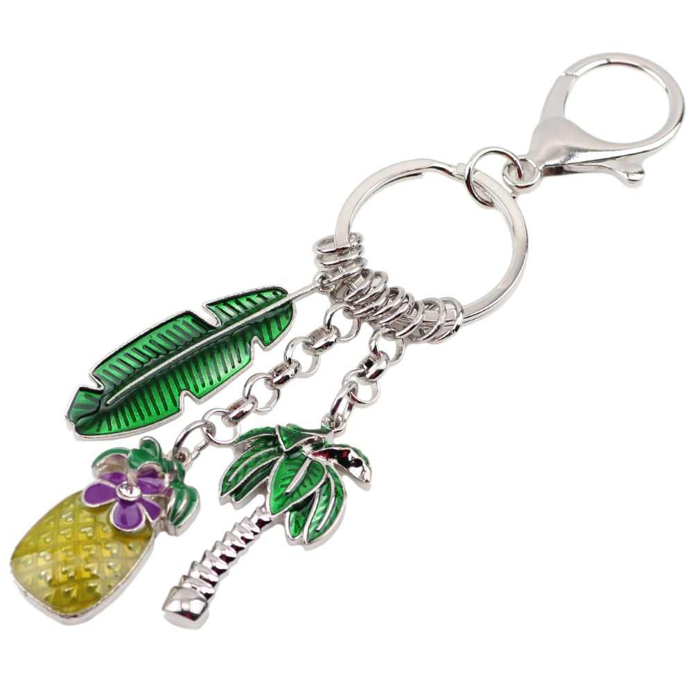 Bonsny эмаль металлический ананас, кокос Пальма цепочка для ключей с деревом брелоки тропический подарок ювелирные изделия для женщин девочек автомобиль Очаровательная подвеска для сумок