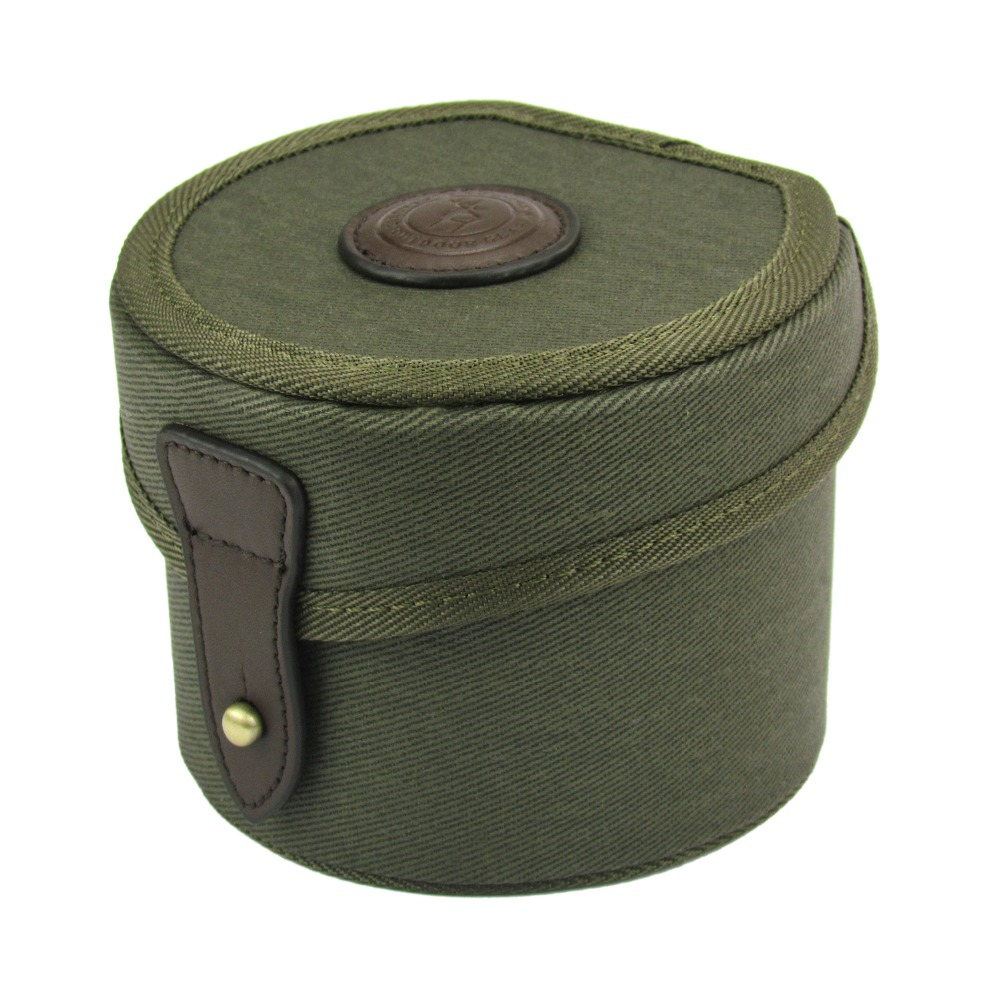 Tourbon Classic Canvas Fly <font><b>Fishing</b></font> Reel Case Storage Reel Shaft Box Durable Protective Cover Coils Bag