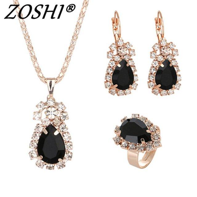 Schwarz Kristall Ring Ohrringe Halsketten Sets Gold Schmuck Sets für Frauen Geometrische Design Hochzeit Schmuck 3 PCS Schmuck Sets