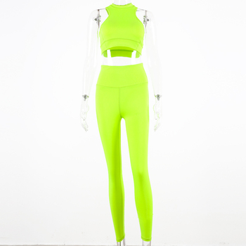 Hugcitar sleeveless camis elastic leggings two 2 pieces neon pink set 2019 summer women fashion stretchy casual set 9