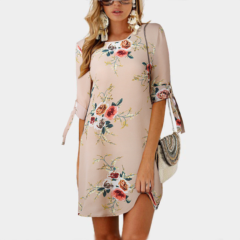 2019 Women Summer Dress Boho Style Floral Print Chiffon Beach Dress Plus  Size 5XL