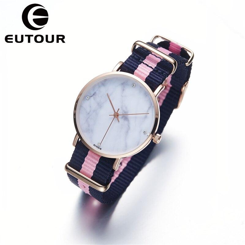 EUTOUR Ultra Mince Genève Montre En Marbre Femmes Simple bracelet En Nylon bling montres Dames robe Quartz Montres or rose Horloge