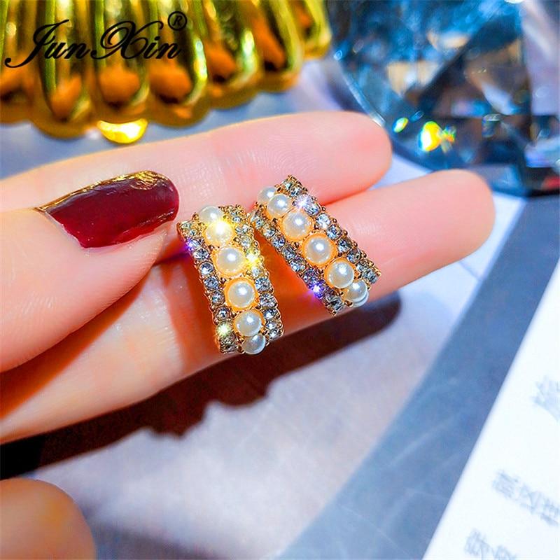 JUNXIN Vintage Female Crystal Earrings Pearl Stone Yellow Gold Color White Blue Zircon Korean Circle Stud Earrings For Women