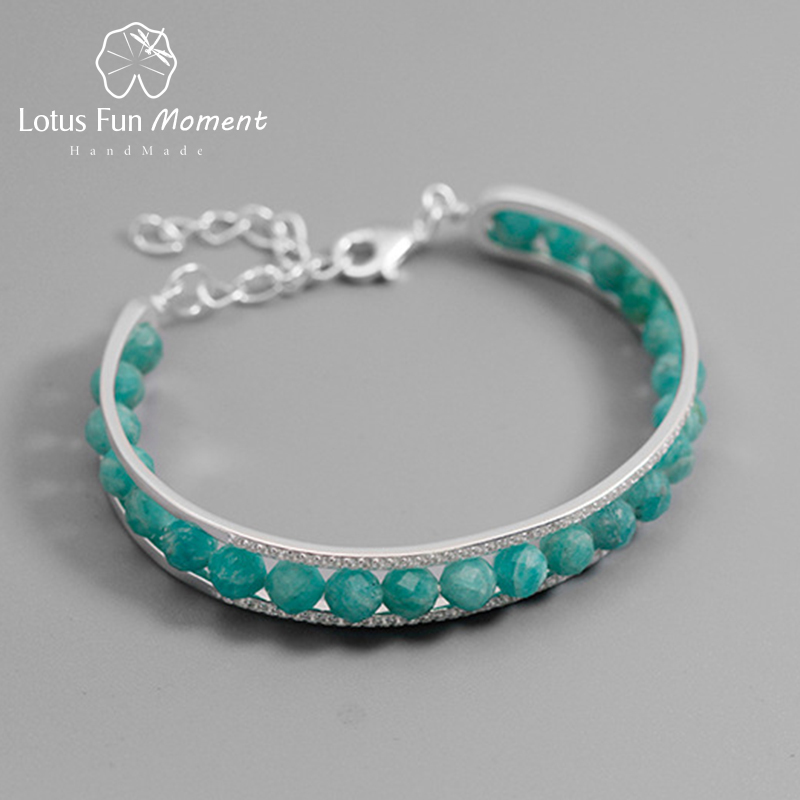 Lotus Fun Moment Real 925 Sterling Silver Natural Stone Fashion Jewelry Adjustable Vintage Simple Stone Bracelet