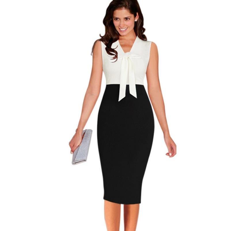 Slim tank dresses Women Elegant Yellow white Contrast Patchwork neck  Bowknot Work Business Casual Party Evening d3d1e896b585
