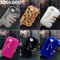Hot Luxury Real Rabbit Fur Furry Warm Winter Bling Soft Back Phone Case Cover For Samsung