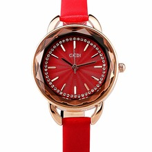 GEDI Women Luxury Bracelet Quartz Watches Fashion Ladies Simple Bracelet Watch Rose Female Wrist Watch Red Pink Yellow Black