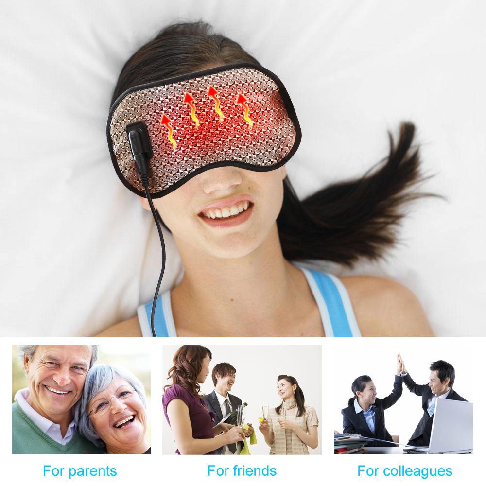 Aptoco Electric Heating Tourmaline Eye Massager Far Infrared Negative Anion Eyes Facial Germanium Mask Relaxation With USB cable