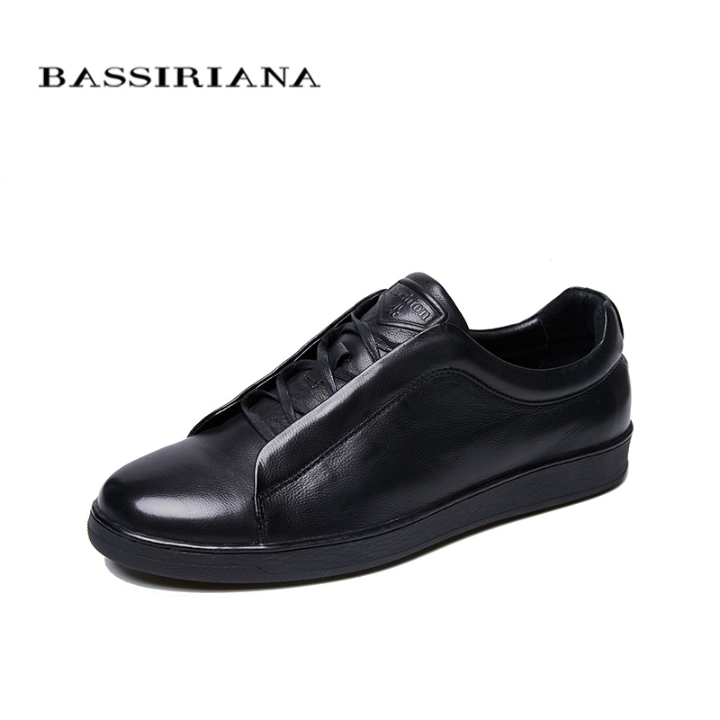 2018 New Men s Casual Shoes Pure Leather Blue Black Free Shipping