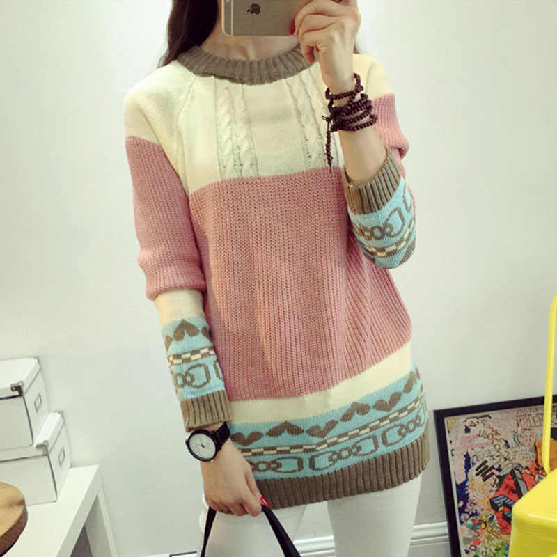 2019 Spring and autumn women sweaters new Korean style the candy color contrast color striped long-sleeved knitted pullover 7520