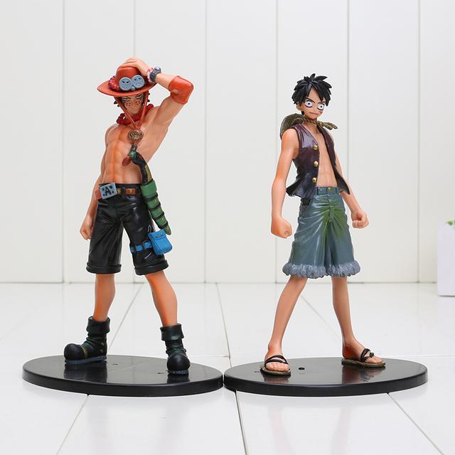 One Piece Luffy + Ace PVC Action Figure Model Anime Toys 2pcs/set 17cm