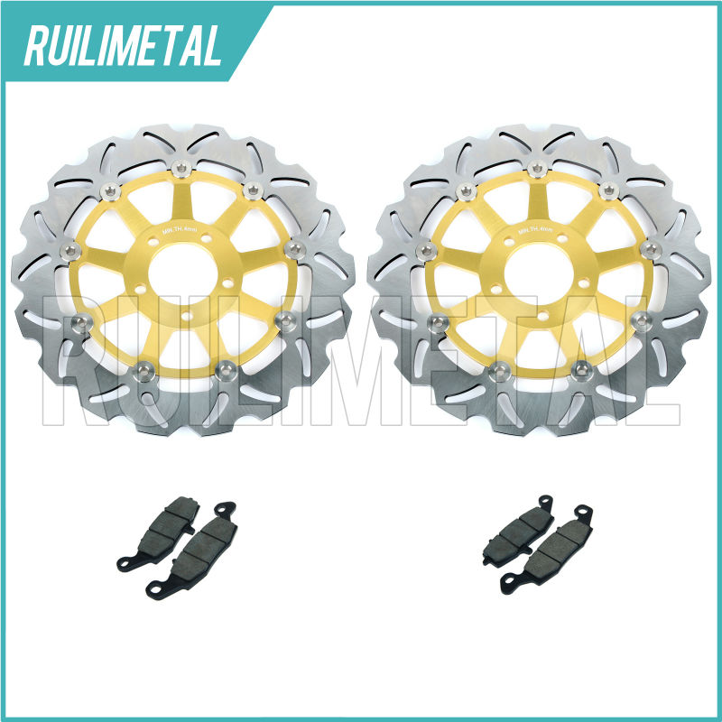 New Front Brake Discs Rotors + Pads Set for KAWASAKI Z750S 05 06 07 Z 750 S Z750 Z-750 04 ZR-7 ZR7 99 00 01 02 03 2004 94 95 96 97 98 99 00 01 02 03 04 05 06 new 300mm front 280mm rear brake discs disks rotor fit for kawasaki gtr 1000 zg1000