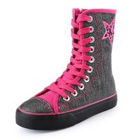 New Arrival Kids Shoes Girls Shoes Fashion Sequins Canvas Shoes Girls New Shiny Leopard High Top