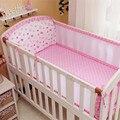 6 pcs set, conjunto fundamento Do Bebê Cama Por Volta dos desenhos animados animal Malha Respirável Crib Bumper Crib Bumpers Bebê Forro + folha + fronha