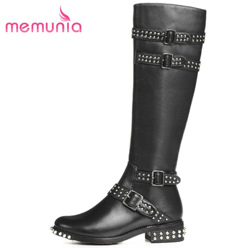 MEMUNIA HOT 2018 fashion buckle zip genuine leather+PU boots round toe knee high boots for women square low heel winter boots цены онлайн