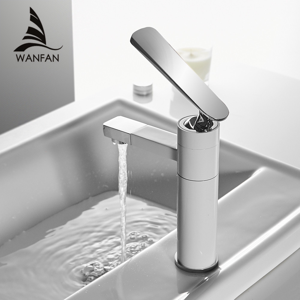 Basin Faucet Brushed Nickel Faucet Tap Bathroom Sink Faucet Single Handle Hole Deck Mounted Wash Hot