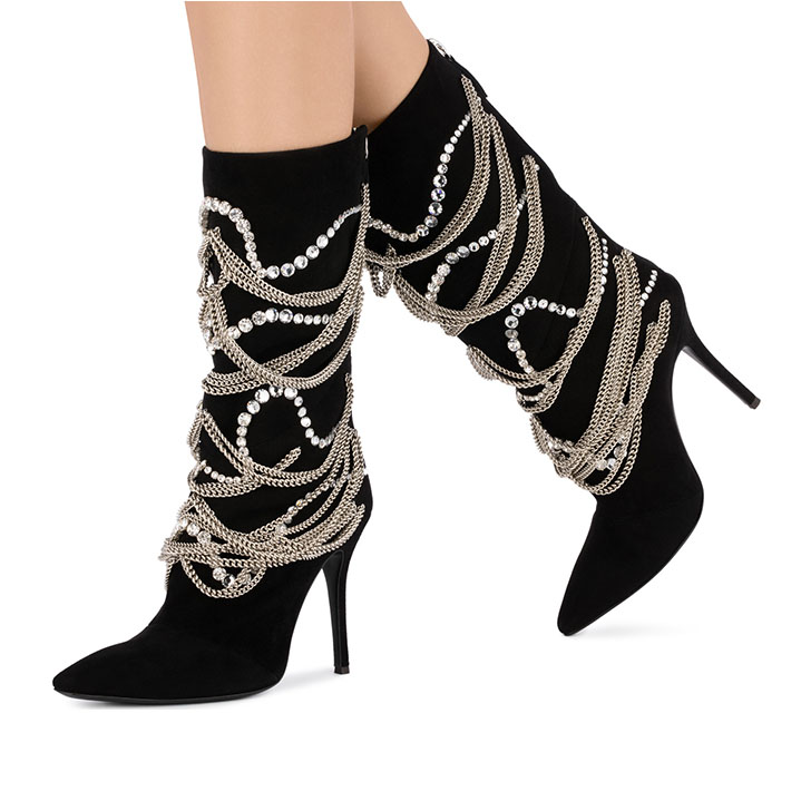 Suede Femmes Bottes Bout Pointu Mince Talon chaussures pour femmes Cristal Chaîne En Métal Décor Marque Chic mi-mollet Bottes Sapato feminino
