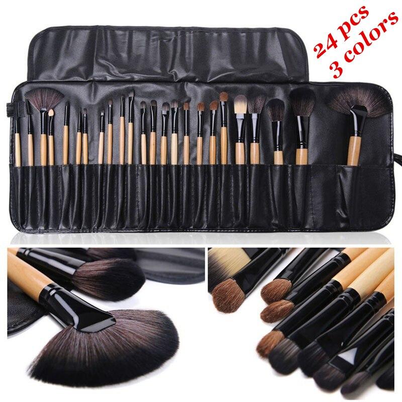 Saco de presente de 24 pçs conjuntos de escova de maquiagem profissional cosméticos escovas sobrancelha pó fundação sombras pinceaux compõem ferramentas