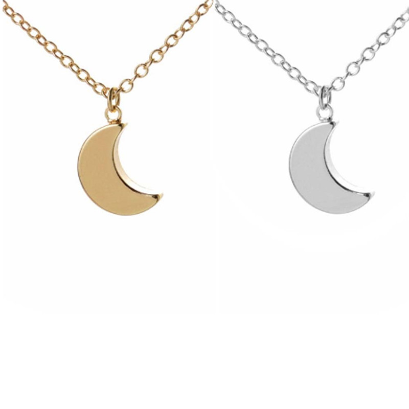 Moon Pendant Necklace Silver Plated Fashion Women Jewelry Trendy Style Female Cloth Accessories