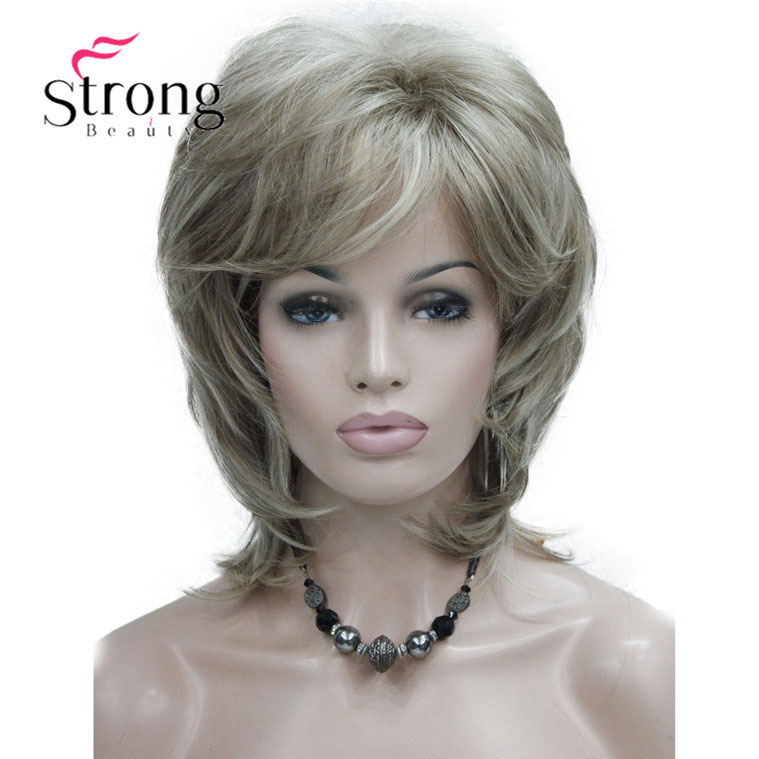 StrongBeauty Short Layered Brown with Blonde Highlighted Classic Cap Full Synthetic Wig  ...
