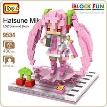 LOZ Diamond Blocks Sakura Miku Figure Action Anime Girl Hatsune Miku Figurine Pop Japonais Vocaloid Doll Music Piano Pink 9534