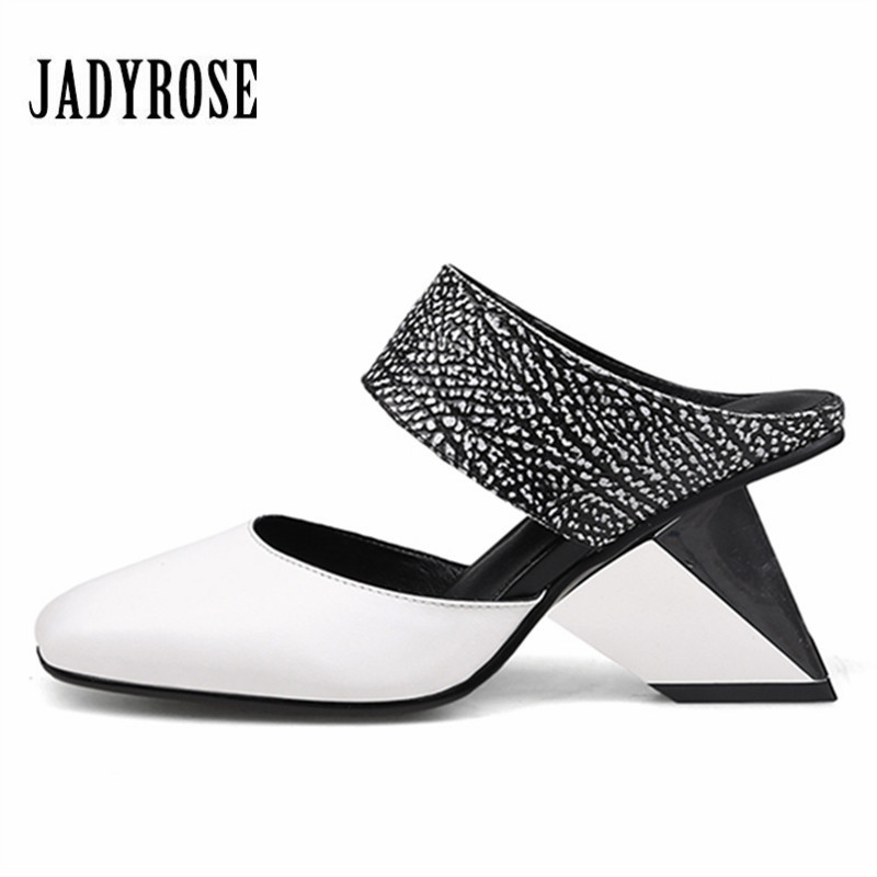 Jady Rose 2018 New Women Slippers Square Toe Female Sandals Summer High Heel Slipper Gladiator Sandalias Mujer Wedge Shoes Woman цена