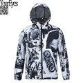 2016 Marca Hip Hop 3D À Prova D' Água Homens Jaqueta de Trincheira Roupas Outwear Casacos de Frio Tempos Modernos Preto e Branco Retro Blusão