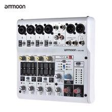 Ammoon AM-6R 8-канальный микшерный пульт звуковая карта цифровой аудио смеситель встроенный 48V Phantom Мощность Поддержка Мощность ed 5V Мощность банка