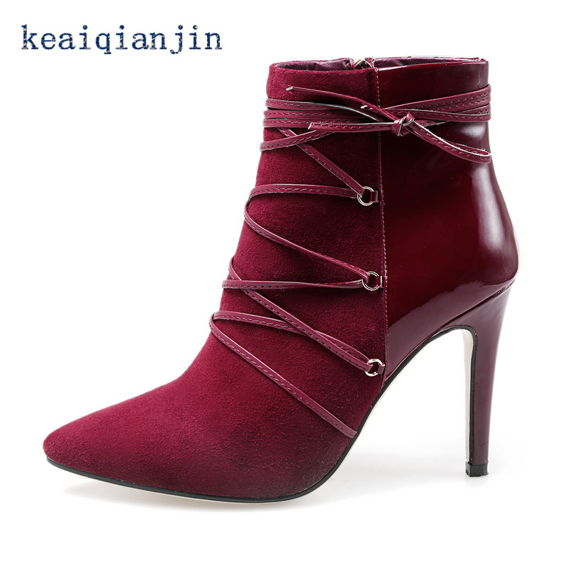 ФОТО Genuine Leather High Heel Boots Fashion Sexy Pointed Toe Ankle Boots Winter Short Plush High Quality Sheepskin Office Woman Shoe